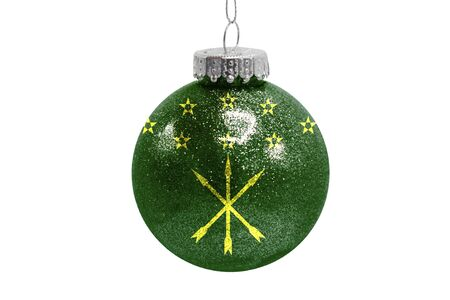Glass Christmas ball toy isolated on white background with the flag of Adygea Фото со стока