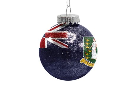 Glass Christmas ball toy isolated on white background with the flag of British Virgin Islands
