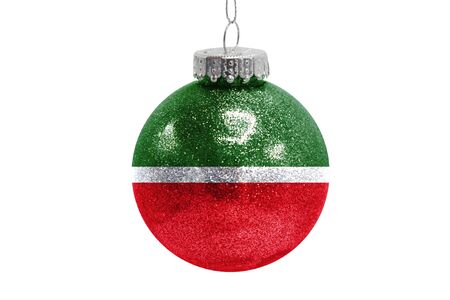 Glass Christmas ball toy isolated on white background with the flag of Tatarstan