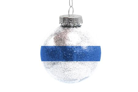 Glass Christmas ball toy isolated on white background with the flag of Altai Republic Фото со стока