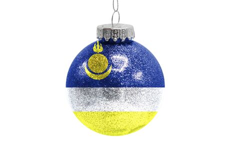 Glass Christmas ball toy isolated on white background with the flag of Buryatia