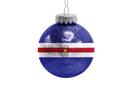 Glass Christmas ball toy isolated on white background with the flag of Cape verde