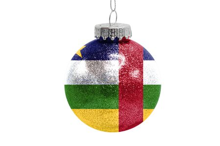Glass Christmas ball toy isolated on white background with the flag of Central African republic