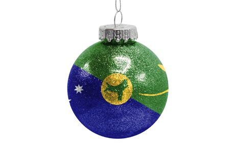 Glass Christmas ball toy isolated on white background with the flag of Christmas Island