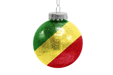 Glass Christmas ball toy isolated on white background with the flag of Congo,Republic