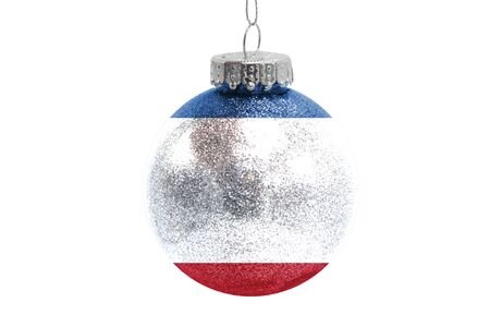 Glass Christmas ball toy isolated on white background with the flag of Crimea Фото со стока