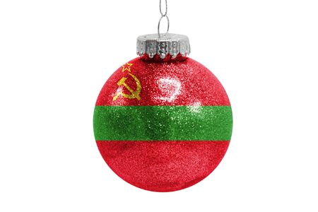 Glass Christmas ball toy isolated on white background with the flag of Transnistria