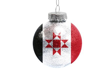 Glass Christmas ball toy isolated on white background with the flag of Udmurtia Фото со стока