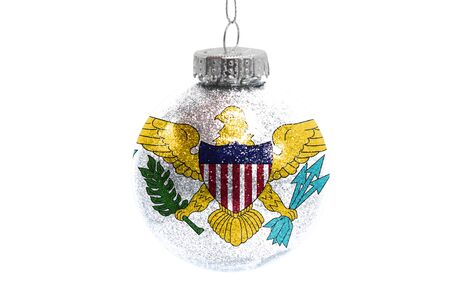 Glass Christmas ball toy isolated on white background with the flag of Virgin Islands of the United States Фото со стока