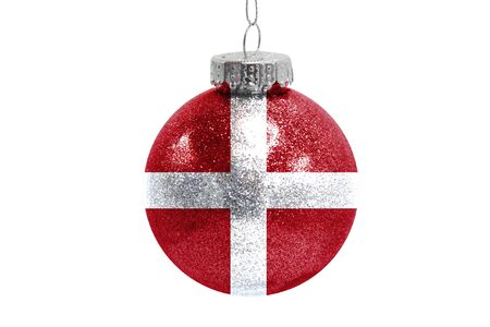 Glass Christmas ball toy isolated on white background with the flag of Sovereign Military Order of Malta 스톡 콘텐츠