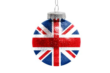 Glass Christmas ball toy isolated on white background with the flag of United Kingdom