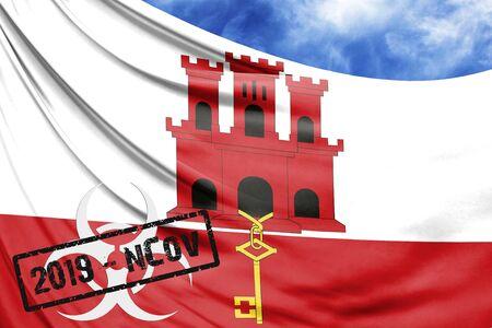 Novel coronavirus disease named 2019-nCoV with Gibraltar flag closeup on blue sky background Stock Photo