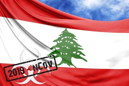 Novel coronavirus disease named 2019-nCoV with Lebanon flag closeup on blue sky background