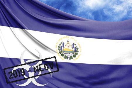 Novel coronavirus disease named 2019-nCoV with El Salvador flag closeup on blue sky background