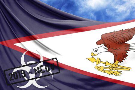Novel coronavirus disease named 2019-nCoV with American Samoa flag closeup on blue sky background Stock Photo