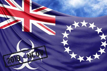 Novel coronavirus disease named 2019-nCoV with Cook Islands flag closeup on blue sky background Stock Photo