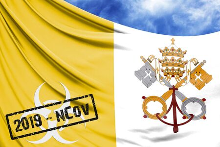 Novel coronavirus disease named 2019-nCoV with Vatican city Holy see flag closeup on blue sky background