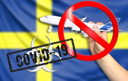 A new coronavirus disease called COVID - 19 with the flag of Sweden. Contains the concept of a ban on air travel between countries.
