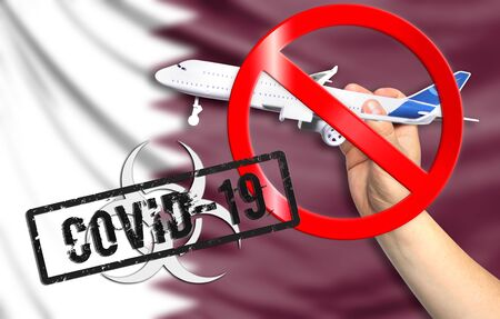 A new coronavirus disease called COVID - 19 with the flag of Qatar. Contains the concept of a ban on air travel between countries.