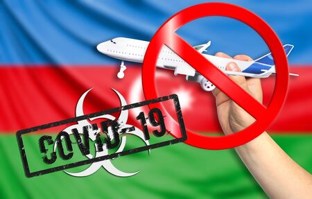 A new coronavirus disease called COVID - 19 with the flag of Azerbaijan. Contains the concept of a ban on air travel between countries.
