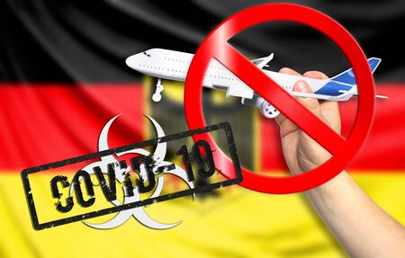 A new coronavirus disease called COVID - 19 with the flag of Germany. Contains the concept of a ban on air travel between countries.