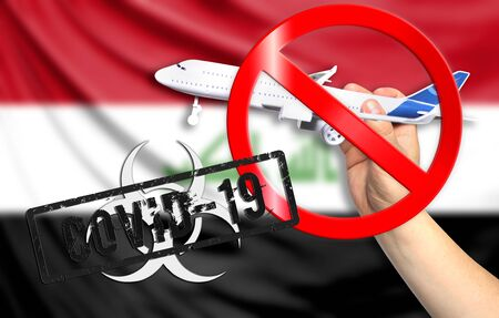A new coronavirus disease called COVID - 19 with the flag of Iraq. Contains the concept of a ban on air travel between countries.