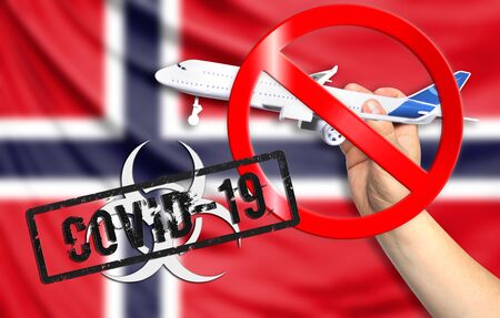 A new coronavirus disease called COVID - 19 with the flag of Norway. Contains the concept of a ban on air travel between countries.