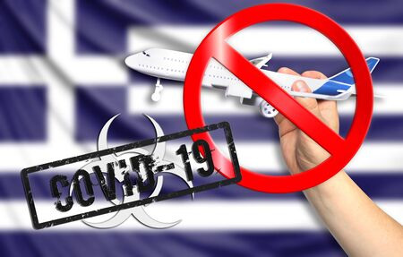 A new coronavirus disease called COVID - 19 with the flag of Greece. Contains the concept of a ban on air travel between countries.