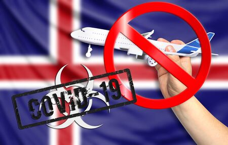 A new coronavirus disease called COVID - 19 with the flag of Iceland. Contains the concept of a ban on air travel between countries.