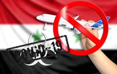A new coronavirus disease called COVID - 19 with the flag of Syria. Contains the concept of a ban on air travel between countries. Фото со стока