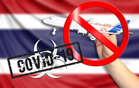 A new coronavirus disease called COVID - 19 with the flag of Thailand. Contains the concept of a ban on air travel between countries.