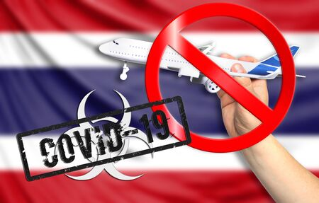 A new coronavirus disease called COVID - 19 with the flag of Costa Rica. Contains the concept of a ban on air travel between countries.