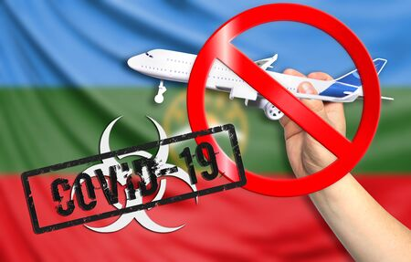 A new coronavirus disease called COVID - 19 with the flag of Karachay Cherkessia. Contains the concept of a ban on air travel between countries.