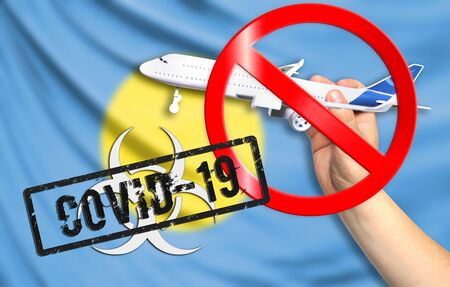 A new coronavirus disease called COVID - 19 with the flag of Palau. Contains the concept of a ban on air travel between countries.