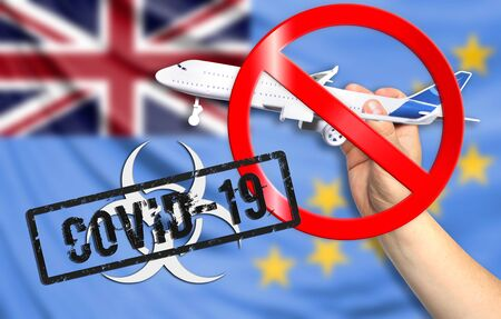 A new coronavirus disease called COVID - 19 with the flag of Tuvalu. Contains the concept of a ban on air travel between countries.