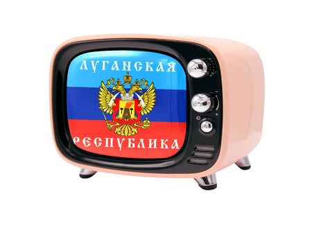 The retro old TV is isolated against a white background with the flag of the Lugansk People's Republic
