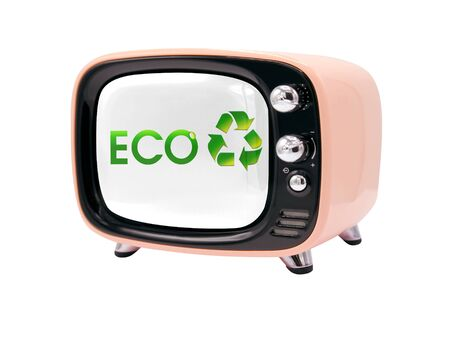 The retro old TV is isolated against a white background with the flag of Ecology logo