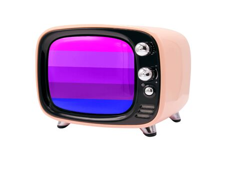 The retro old TV is isolated against a white background with the flag of Alternative Transgender pride 版權商用圖片