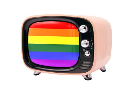 The retro old TV is isolated against a white background with the flag of lgbt