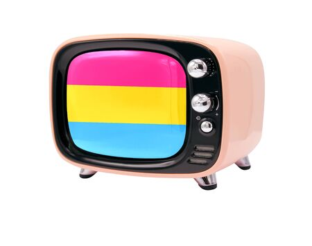 The retro old TV is isolated against a white background with the flag of Pansexuality Pride