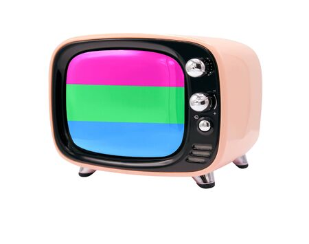 The retro old TV is isolated against a white background with the flag of Polysexuality