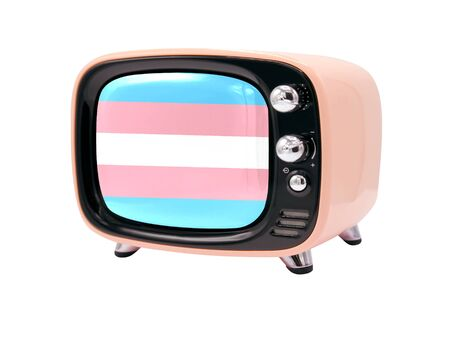 The retro old TV is isolated against a white background with the flag of Transgender