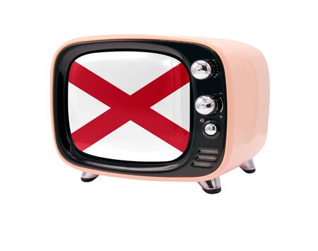 The retro old TV is isolated against a white background with the flag State of Alabama
