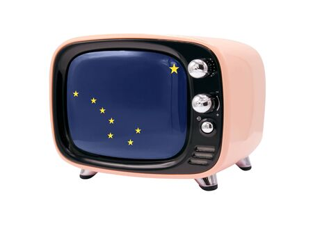 The retro old TV is isolated against a white background with the flag State of Alaska