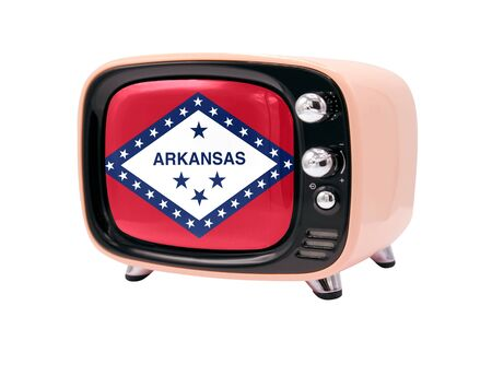 The retro old TV is isolated against a white background with the flag State of Arkansas 免版税图像