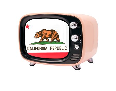 The retro old TV is isolated against a white background with the flag State of California 免版税图像