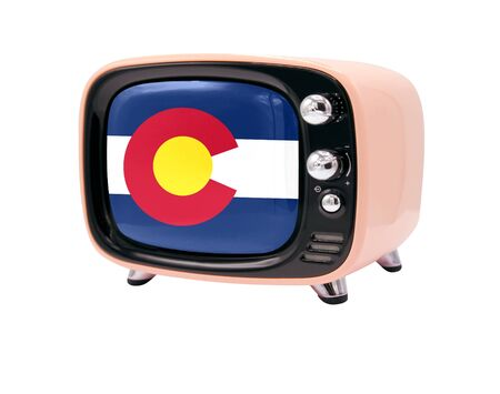 The retro old TV is isolated against a white background with the flag State of Colorado