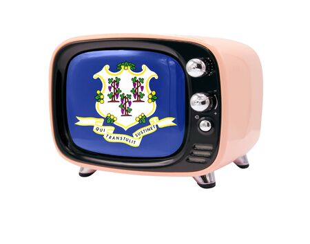 The retro old TV is isolated against a white background with the flag State of Connecticut