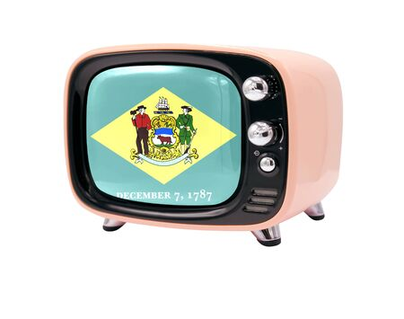 The retro old TV is isolated against a white background with the flag State of Delaware