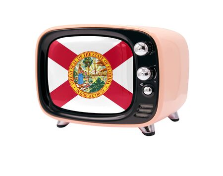 The retro old TV is isolated against a white background with the flag State of Florida 免版税图像
